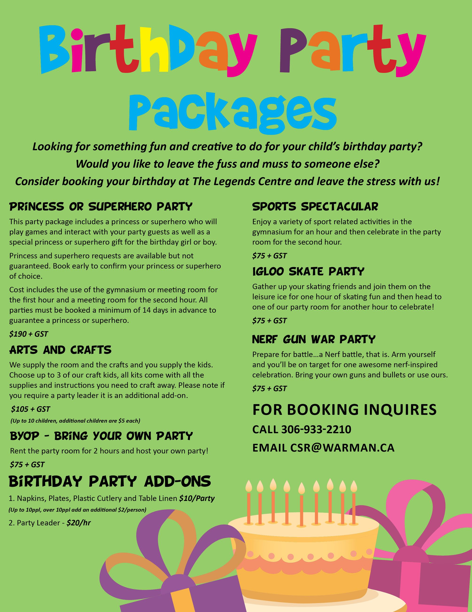 Birthday Party Package 2020